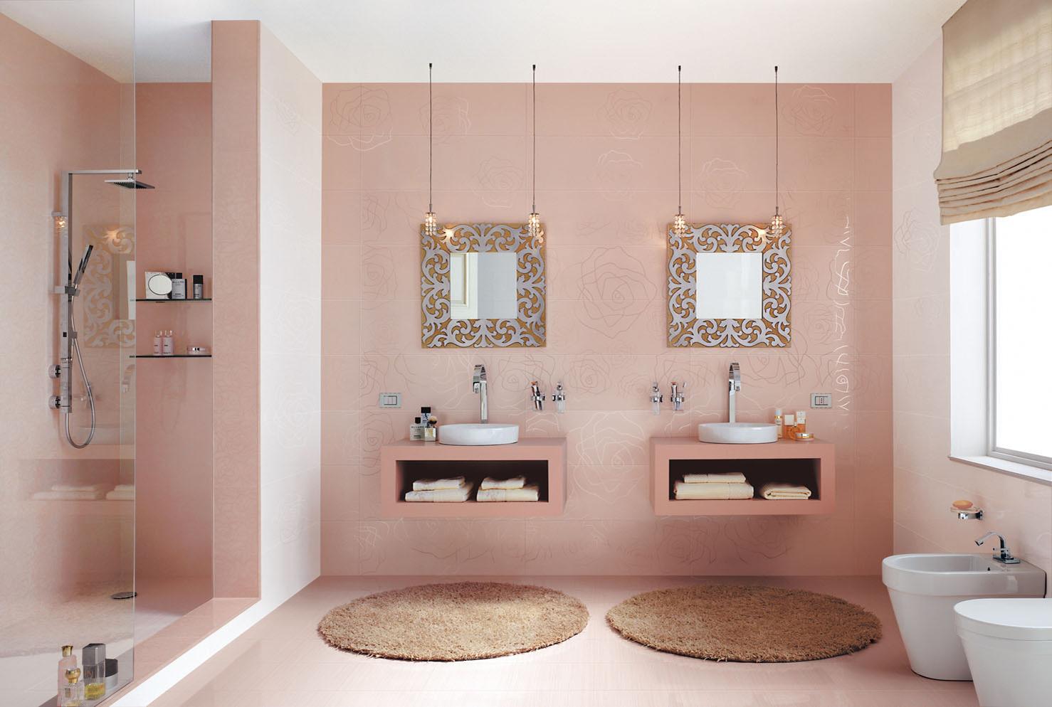 F rd szoba csempe csata 8 egy ri si olasz vattacukor Pink bathroom ideas pictures