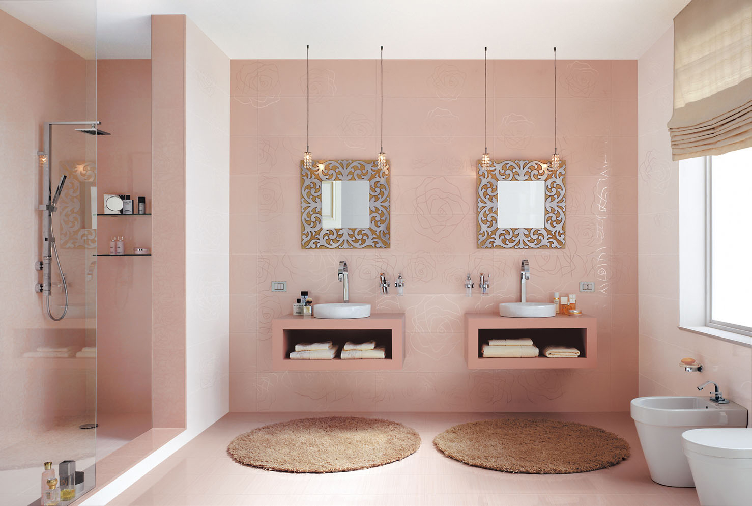 F rd szoba csempe csata 8 egy ri si olasz vattacukor for Cool bathroom ideas for girls