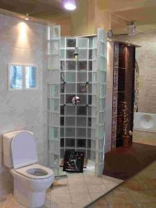 fürdőszoba ötletek üvegtégla zuhanyzó